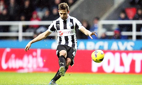 Newcastle United's Yohan Cabaye scores