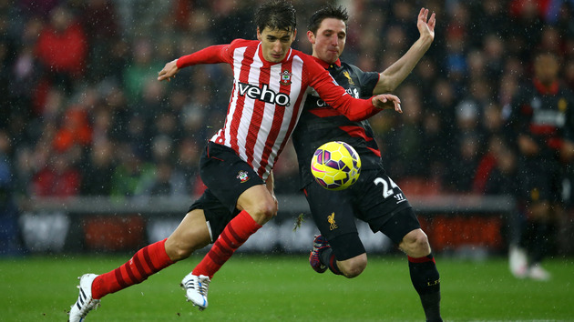 during the Barclays Premier League match between Southampton and Liverpool at St Mary's Stadium on February 22, 2015 in Southampton, England.