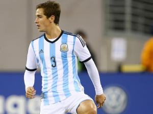 EAST RUTHERFORD, NJ - NOVEMBER 15:  Lucas Orban #3 of Argentina competes against Ecuador during a friendly match at MetLife Stadium on November 15, 2013 in East Rutherford, New Jersey.  (Photo by Elsa/Getty Images)