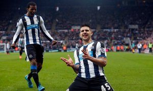 "Newcastle United's Aleksandar Mitrovic celebrates scoring his side's first goal of the game during the Barclays Premier League match at St James' Park, Newcastle. PRESS ASSOCIATION Photo. Picture date: Saturday February 6, 2016. See PA story SOCCER Newcastle. Photo credit should read: Owen Humphreys/PA Wire. RESTRICTIONS: EDITORIAL USE ONLY No use with unauthorised audio, video, data, fixture lists, club/league logos or ""live"" services. Online in-match use limited to 75 images, no video emulation. No use in betting, games or single club/league/player publications."