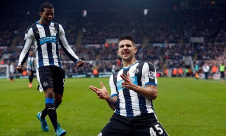 """Newcastle United's Aleksandar Mitrovic celebrates scoring his side's first goal of the game during the Barclays Premier League match at St James' Park, Newcastle. PRESS ASSOCIATION Photo. Picture date: Saturday February 6, 2016. See PA story SOCCER Newcastle. Photo credit should read: Owen Humphreys/PA Wire. RESTRICTIONS: EDITORIAL USE ONLY No use with unauthorised audio, video, data, fixture lists, club/league logos or """"live"""" services. Online in-match use limited to 75 images, no video emulation. No use in betting, games or single club/league/player publications."""