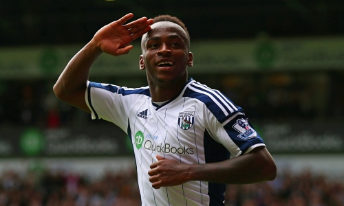 Saido Berahino salutes the West Brom fans after his second goal against Sunderland.